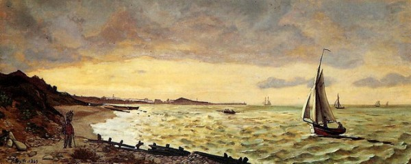 Jean Frederic Bazille -  The Beach at Sainte-Adresse