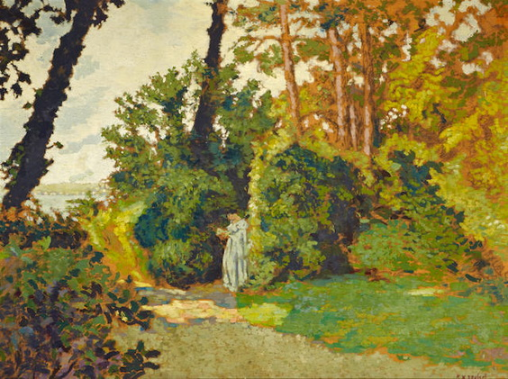Ker Xavier Roussel - A wooded landscape with a figure