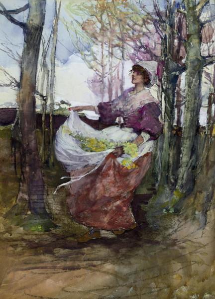 Elizabeth Adela Forbes - arws an apron full of flowers