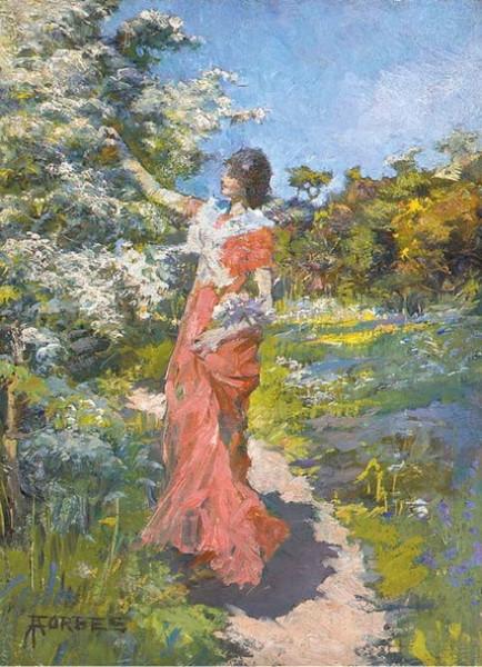 Elizabeth Adela Forbes - Picking blossom