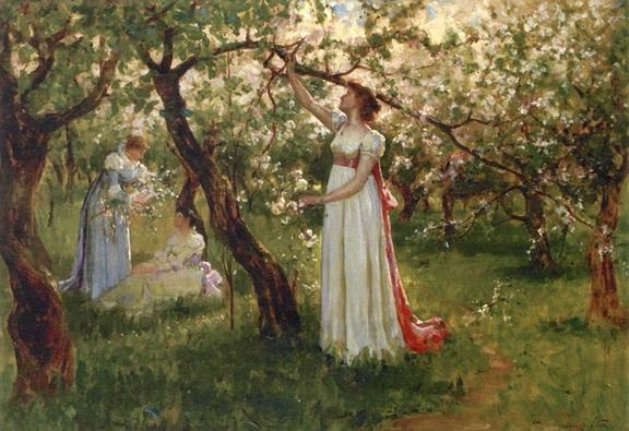 Douglas Volk - Artists Daughter in a Garden