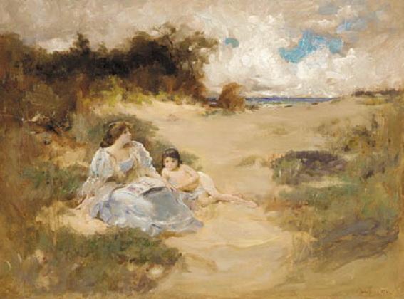 Douglas Volk - Reading on the beach