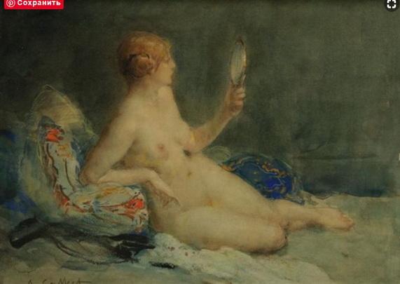 Antoine Calbet - Femme au miroir