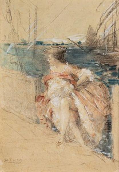 Antoine Calbet - Jeune femme en costume, sur le quai