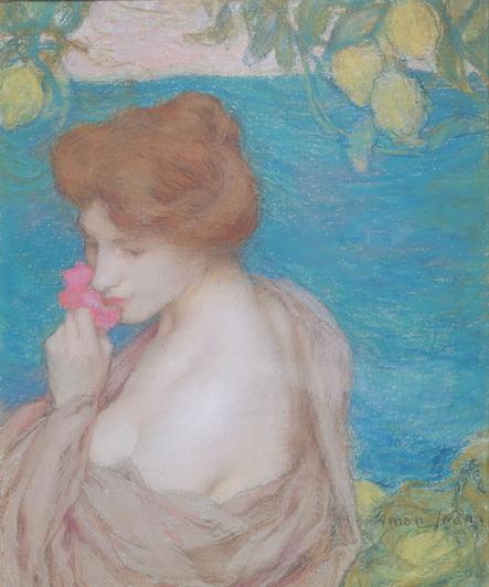 Edmond Aman-Jean - Femme a la fleur