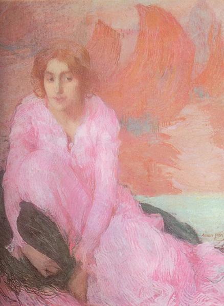 Edmond Aman-Jean -  Woman in Pink
