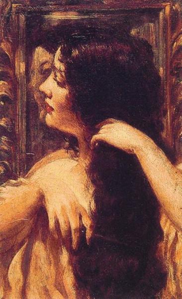 James Carroll Beckwith - Brunette Combing Her Hair