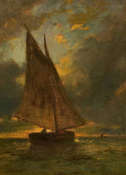 constant emile troyon - Fishing Boat at Sea