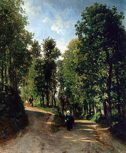 constant emile troyon - Road in the Woods Painting