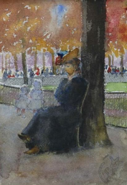 Emile Schuffenecker - Repos prуs de l'arbre dans un jardin