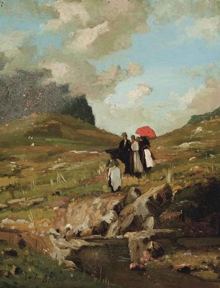 Lorenzo Delleani - Donna con umbrello