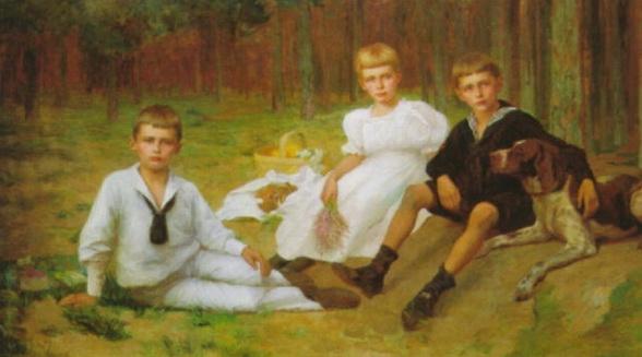 Carl Ludwig Noah Bantzer - The children of the Bienert family having a picnic