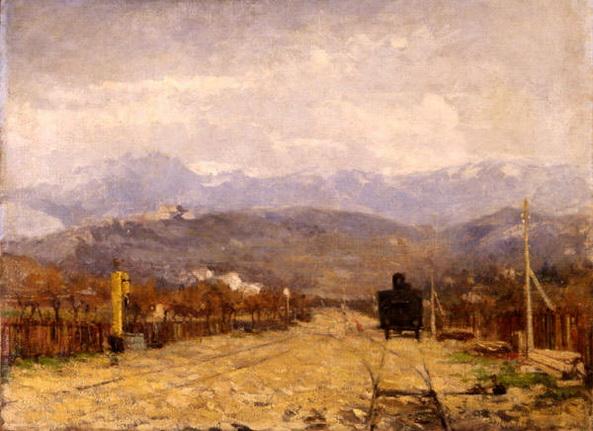 Eugenio Gignous - Paesaggio con treno