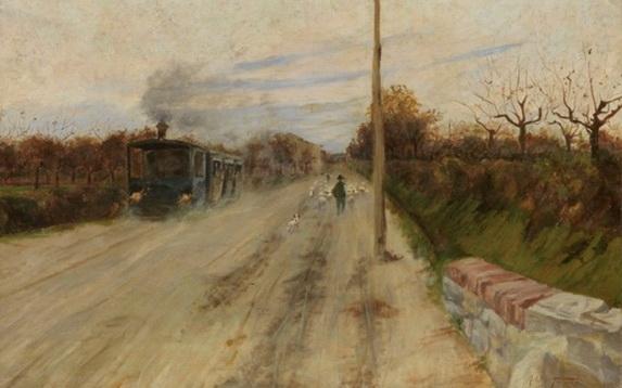 Adolfo Tommasi - La vaporiera sulla via di Fornacette