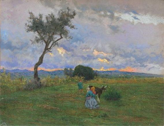 Adolfo Tommasi - Scena di vita contadina al tramonto