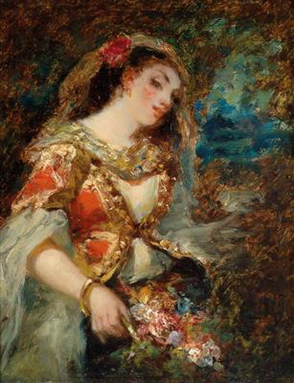Narcisse  Diaz - Young Woman in Oriental Costume