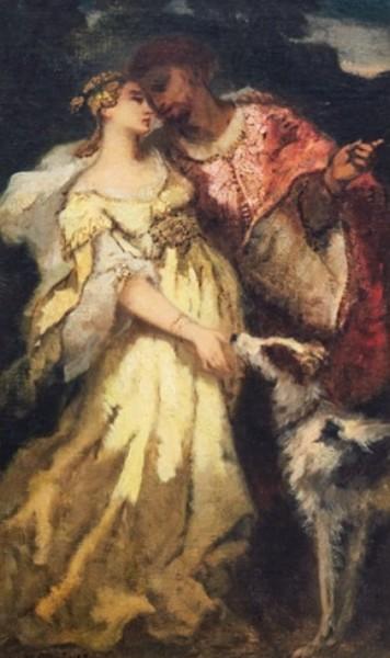 Narcisse  Diaz - Elegant couple with a dog