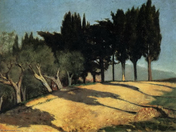 Gioseppe Abbati - Country Road with Cypresses