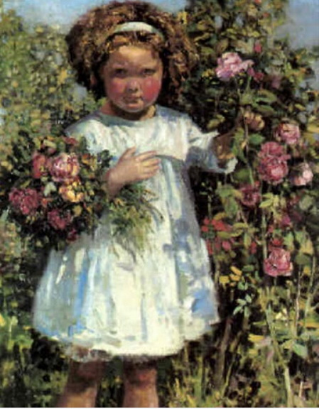 Stanley Royle - Young girl picking roses