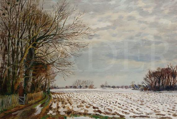 Maurice Boitel - seine et Marne, neige dans la vallee de la Gondoire
