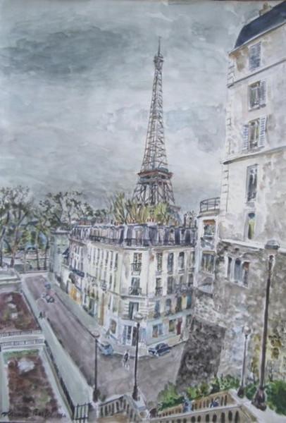Maurice Boitel - La Tour Eiffel et la rue de la manutention