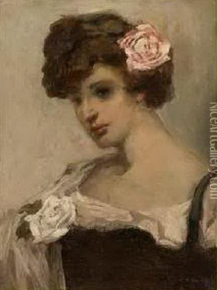 Maurice Wagemans - Jeune Fille A La Rose