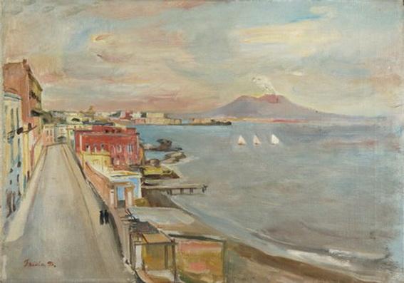 Donato Frisia - Litorale napoletano con Vesuvio