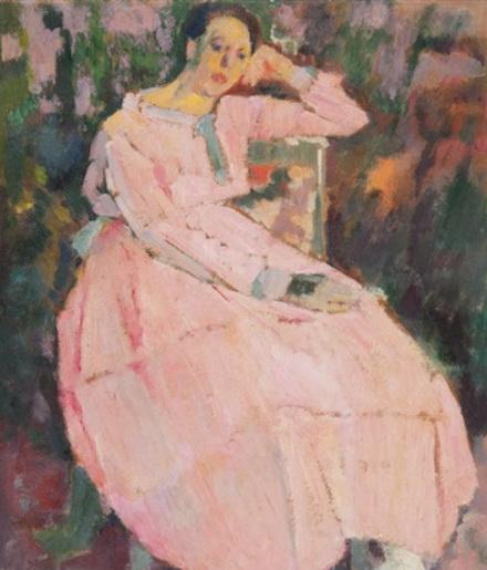 Henri Ramah - Dame en rose