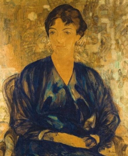 Henri Ramah - Dame assise en robe noir