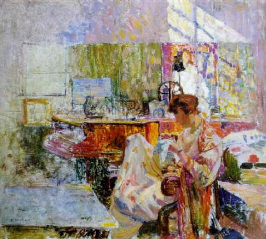 Edgard Wiethase  - vrouw in interieur