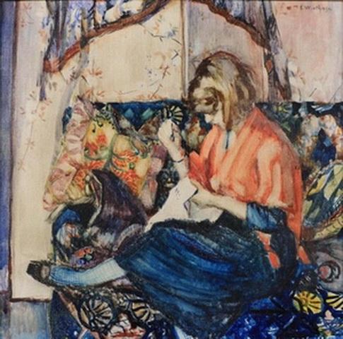 Edgard Wiethase  - Jeune femme avec ouvrage dans