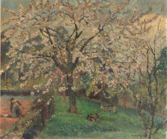 Edgard Wiethase  - Geitjes onder boom in bloei met tuinier