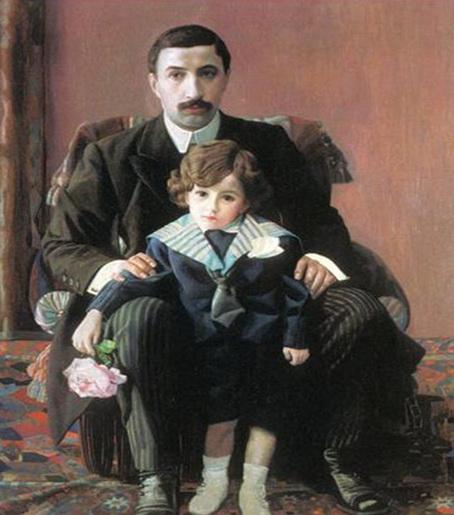 Филонов - Портрет А. Азибера с сыном