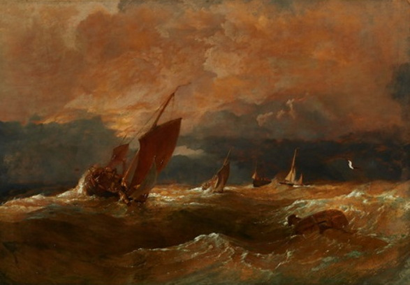 Copley Fielding - SHIPPING IN A STORM AT SUNSET