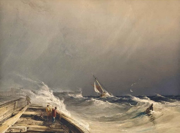 Copley Fielding - Running for shelter from the gale