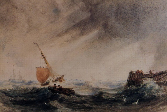 Copley Fielding - Shipping in a stormy sea off the coast