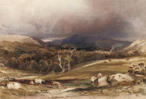 Copley Fielding - An extensive landscape with cattle