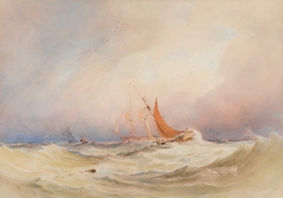 Copley Fielding - Trawlers and other craft in choppy seas