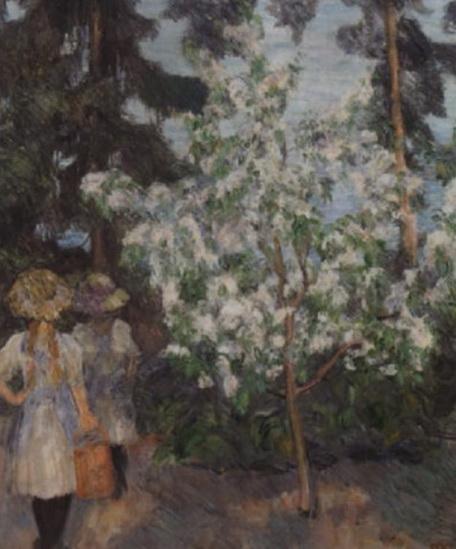 Erik Theodor Werenskiold - To piker ved blomstrende frukttre