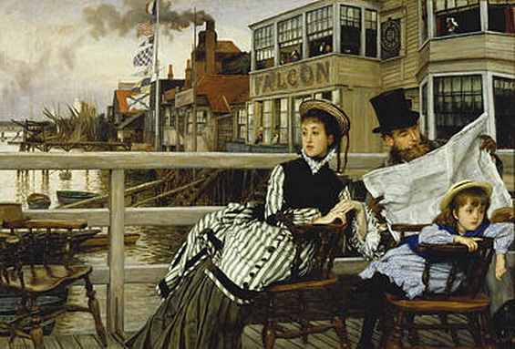James  Tissot -  Waiting For The Ferry At The Falcon Tavern