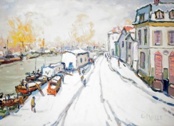Charles Malle - Le Seine a Neuilly-sur-Seine par temps de neige