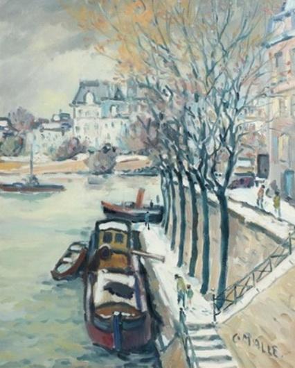 Charles Malle - La seine, neige au quai d'Orleans