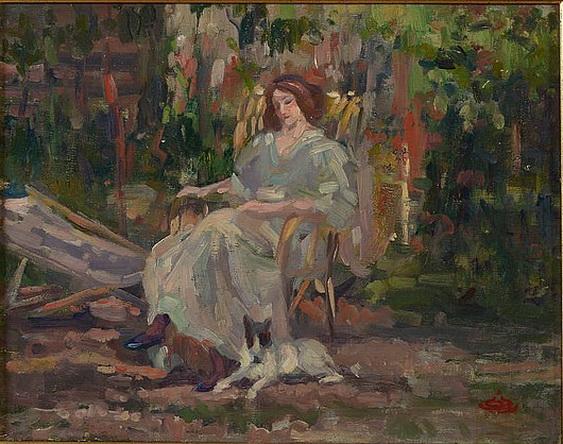 Marcel Jefferys - Femme assise et son chien da