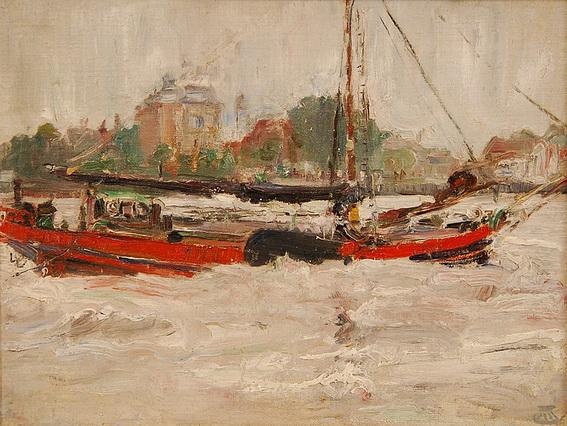 Marcel Jefferys - Paysage fluvial avec bateau