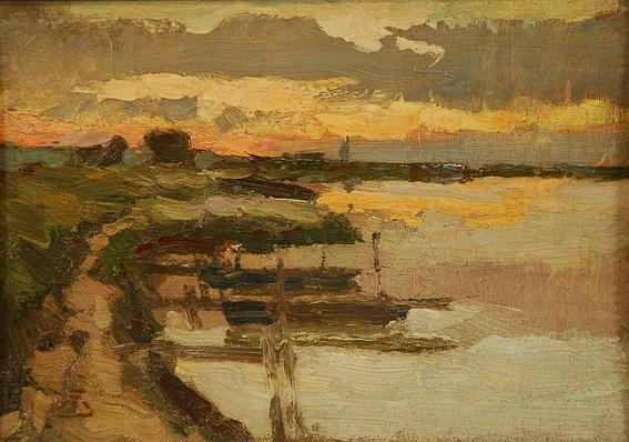 Marcel Jefferys - Lac au coucher de soleil Huile sur Panneau