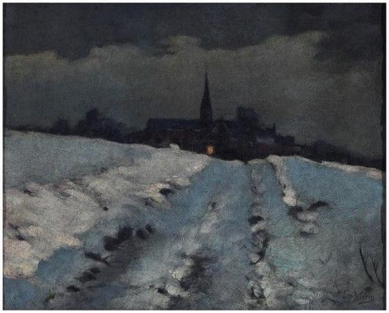 Emmanuel Vierin - Vue de village sous la neige