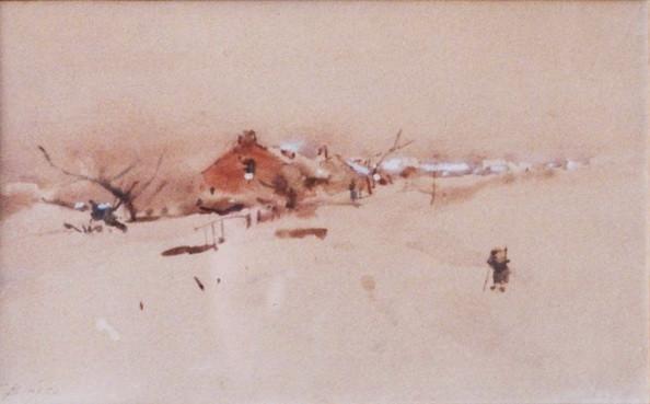 Franz Binje - Hameau sous la neige