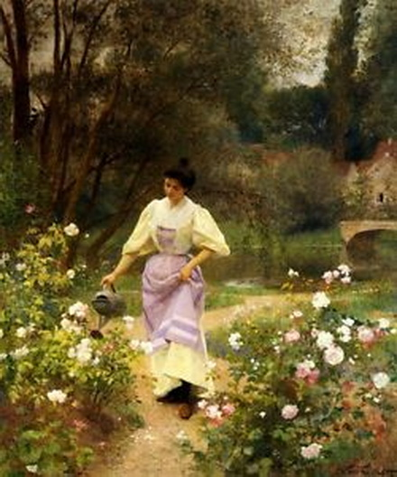 Victor Gilbert - LADY GIRL WATERING THE GARDEN