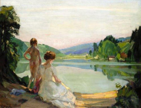 Ernst Hodel Junior - Frau am See