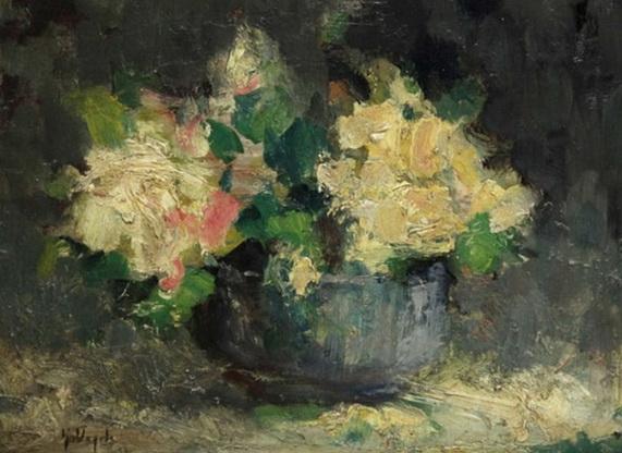 Guillaume Vogels - Bouquet aux roses jaunes